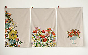 Cotton Tea Towels with Floral Images (Set of 3 Designs), , rollover