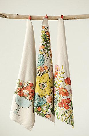 Cotton Tea Towels with Floral Images (Set of 3 Designs), , large