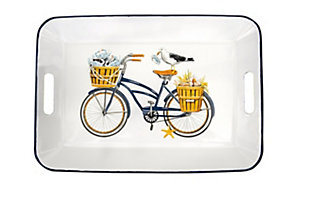 """Creative Co-Op 16-1/4""""L x 11-1/4""""W Enameled Tray with Handles, Bees and Bicycle, , rollover"""
