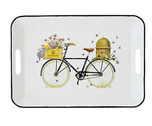 """Creative Co-Op 16-1/4""""L x 11-1/4""""W Enameled Tray with Handles, Bees and Bicycle, , large"""