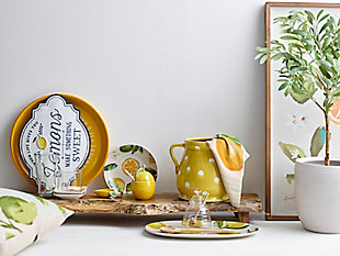 """15""""L x 9-1/2""""W Stoneware Platter with Lemons, , rollover"""