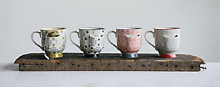 Decorative Stoneware Mugs with Tea Bag Holders (Set of 4 Designs), , large