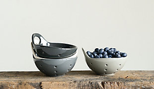 "Creative Co-Op 5-1/4""L Stoneware Berry Bowl, 4 Colors, , large"