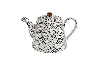 "9-1/4""L x 5-1/4""H 32 oz. Stoneware Teapot, Black Dots with Gold Electroplating, , large"