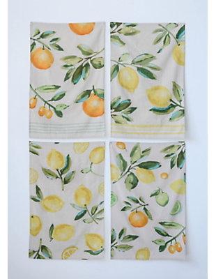 Creative Co-Op Cotton Citrus Fruit Tea Towels (Set of 4 Designs), , large