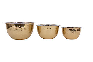 5, 3 and 1-1/2 Quart Hammered Stainless Steel Bowls, Gold Finish, Set of 3, , large