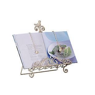 "15""H Metal Book Holder with Bird, Cream, , rollover"
