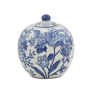 "7"" Round x 8-1/2""H Decorative Stoneware Ginger Jar, Blue and White, , large"