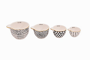 1, 1/2, 1/3 and 1/4 Cup Stoneware Measuring Cups, Black Pattern with Gold Electroplating, Set of 4, , large