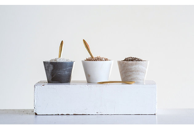Creative Co-Op Blue, White and Brown Marble Pinch Pots with Brass Spoons (Set of 3 Colors), , large