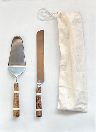 """11-3/4""""L Stainless Steel Cake Knife and Server with Wood and Horn Inlay Handle, Set of 2 in Drawstring Bag, , rollover"""