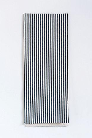 "72""L x 14""W Cotton Striped Table Runner, Black, , rollover"