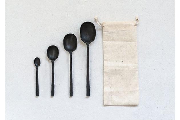 "8""L Cast Aluminum Spoons, Black, Set of 4 in Drawstring Bag, Black, large"