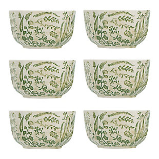 White Stoneware Bowl with Hand-Stamped and Embossed Green Pattern (Set of 6 Bowls), , large