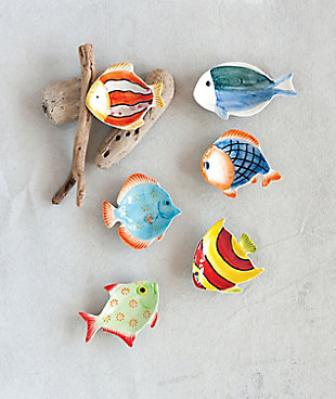 Mini Hand-Painted Stoneware Fish Dish (Set of 6 Styles), , rollover