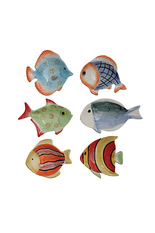 Mini Hand-Painted Stoneware Fish Dish (Set of 6 Styles), , large