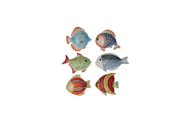 Creative Co-Op Mini Hand-Painted Stoneware Fish Dish (Set of 6 Styles), , large