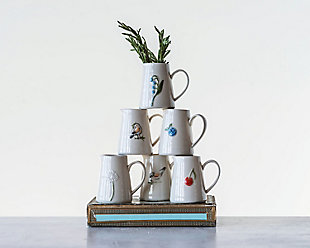 White Stoneware Creamer with Hand-Painted and Embossed Birds (Set of 6 Designs), , rollover