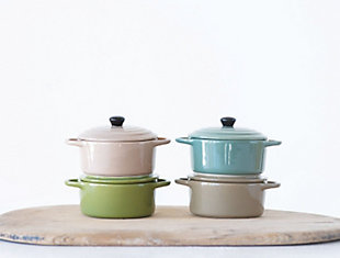Stoneware Mini Baker with Lid (Set of 4 Colors), , rollover