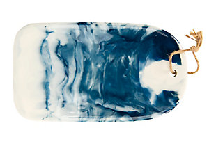 """13-1/2""""L x 7-3/4""""W Ceramic Cheese/Cutting Board, Marble Glaze, Blue (Each One Will Vary), , large"""