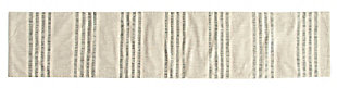 """72""""L x 14""""W Woven Cotton Stripe Table Runner, Black and Cream Color, , large"""