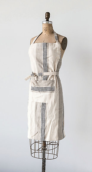 """32""""L x 28""""W Cotton Striped Apron with Pocket, Taupe, Black and Cream Color, , rollover"""