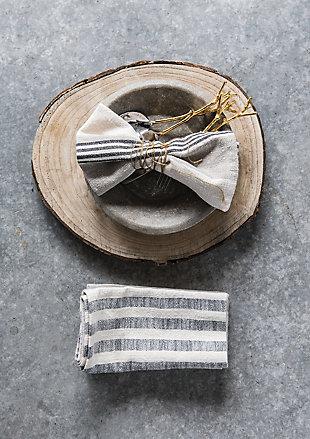 "18"" Square Woven Cotton Striped Napkins, Taupe, Black and Cream Color, Set of 4, , rollover"