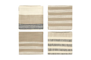 """18"""" Square Woven Cotton Striped Napkins, Taupe, Black and Cream Color, Set of 4, , large"""