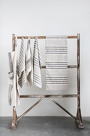 """28""""L x 18""""W Woven Cotton Striped Tea Towels, Taupe, Black and Cream Color, Set of 3, , rollover"""