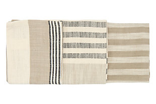 """28""""L x 18""""W Woven Cotton Striped Tea Towels, Taupe, Black and Cream Color, Set of 3, , large"""