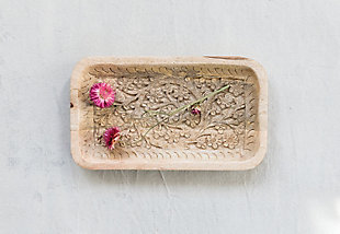 """10""""L x 6""""W Hand-Carved Mango Wood Tray, , rollover"""