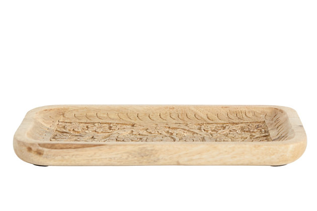 """10""""L x 6""""W Hand-Carved Mango Wood Tray, , large"""