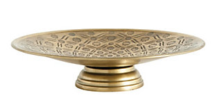 """10-1/2"""" Round x 3""""H Decorative Debossed Metal Footed Pedestal, Antique Gold Finish, , large"""