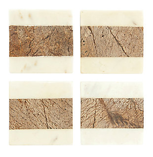 "4"" Square Marble Coasters, White and Natural, Set of 4, , rollover"