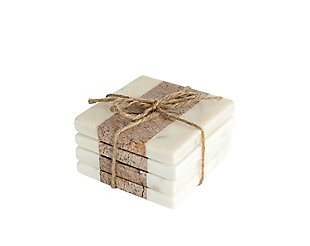 "4"" Square Marble Coasters, White and Natural, Set of 4, , large"