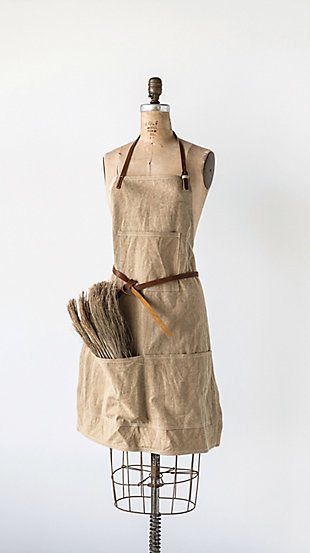 "34""L x 24""W Cotton Canvas Apron with Pockets and Leather Ties, Khaki, , rollover"