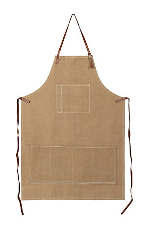 "34""L x 24""W Cotton Canvas Apron with Pockets and Leather Ties, Khaki, , large"