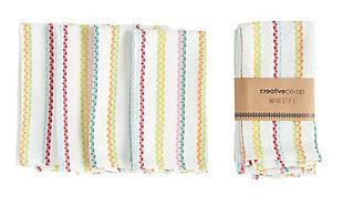 "18"" Square Woven Cotton Striped Napkins, Multi Color, Set of 4, , large"