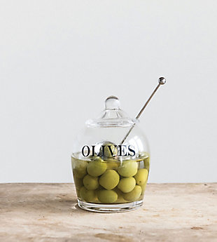 """4"""" Round x 5-1/2""""H Glass Jar with Stainless Steel Slotted Spoon, Set of 2 """"Olives"""", , rollover"""