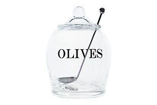 """4"""" Round x 5-1/2""""H Glass Jar with Stainless Steel Slotted Spoon, Set of 2 """"Olives"""", , large"""
