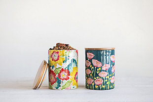 Floral Stoneware Canister with Bamboo Lid (Set of 2 Styles), , rollover