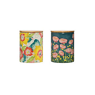 Floral Stoneware Canister with Bamboo Lid (Set of 2 Styles), , large