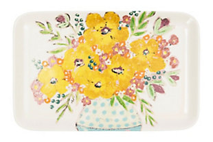 """14-3/4""""L x 9-1/2""""W Stoneware Platter with Flowers, , rollover"""