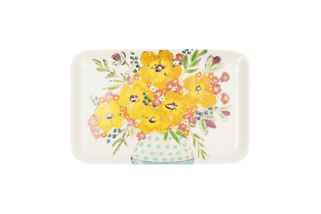 """14-3/4""""L x 9-1/2""""W Stoneware Platter with Flowers, , large"""