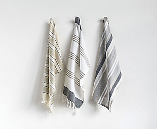 "28""L x 18""W Cotton Striped Tea Towels, Set of 3, , rollover"