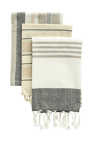 "28""L x 18""W Cotton Striped Tea Towels, Set of 3, , large"