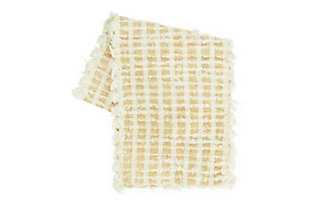 "72""L x 14""W Woven Cotton Tufted Table Runner with Fringe, Natural and Mustard Color, , large"
