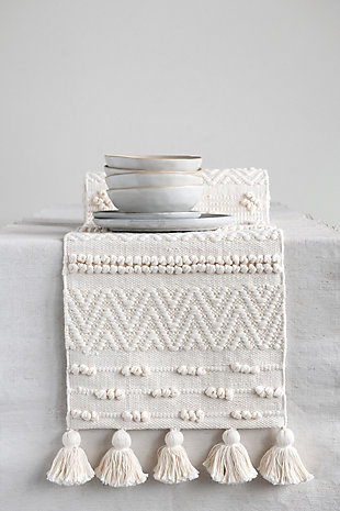 """72""""L x 14""""W Woven Cotton Textured Table Runner with Pom Poms and Tassels, Cream Color, , rollover"""