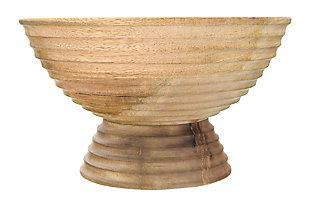 "9-3/4"" Round x 5-1/2""H Mango Wood Ridged Footed Bowl, , large"