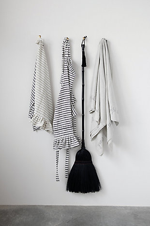 "32""L x 28""W Woven Cotton Striped Apron with Ruffle, Black and White, , rollover"